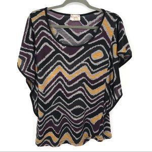 Lavish short sleeve blouse multi-colored size XL